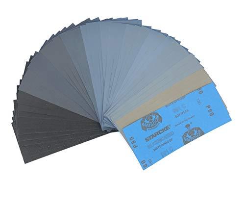 Schleifpapier Set 45 Stück | Made in Germany | Körnung von 80 bis 3000 | Wasserfest Nass & Trocken |...
