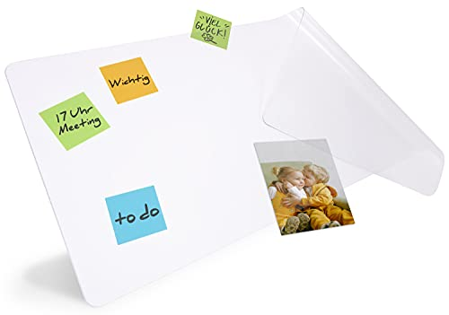 HAMZAM® Schreibtischunterlagen transparent, inkl. Klebepunkte, rutschfeste Schreibunterlage, runde...