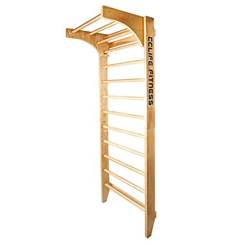 CCLIFE Sprossenwand Kletterwand Turnwand höhenverstellbare Klimmzugstange Klettergerüst Holz Kinder...