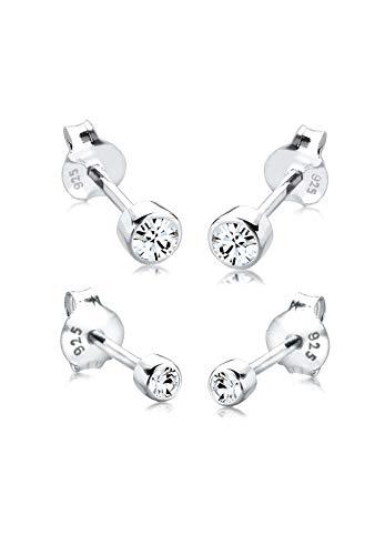 Elli Ohrringe Damen Set Basic mit Kristalle in 925 Sterling Silber