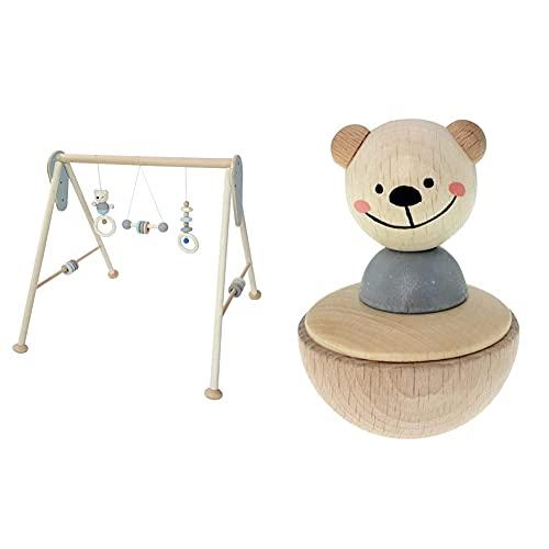Hess Holzspielzeug - Spielgerät aus Holz, Serie Bär, handgefertigter Spielbogen mit Figuren und...