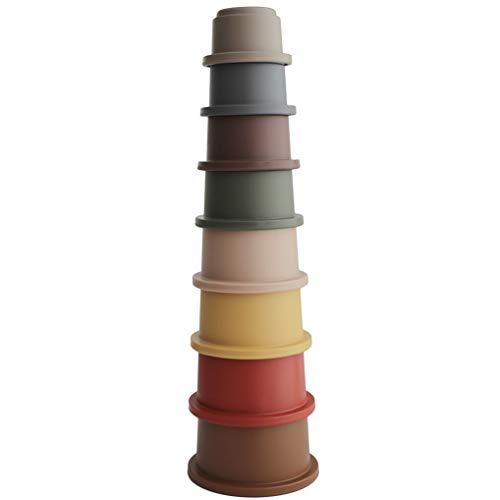 Mushie Stapelturm Pyramide mit 8 Becher | 100% BPA-frei Stapelspiel | Lernspielzeug für Babys ab 6...