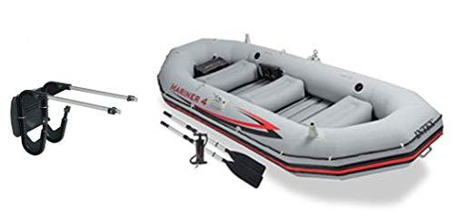 Intex Mariner 4-Personen-Schlauchboot-Set mit Aluminium-Rudern und Hochleistungs-Luftpumpe