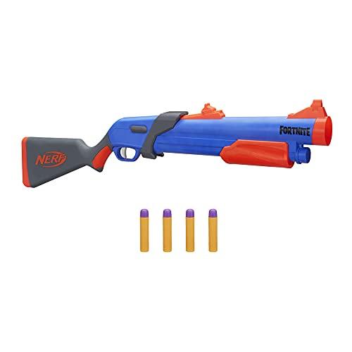 NERF Fortnite Pump SG Blaster, Pump-Action Blaster, Hinterlader, 4 Mega Darts, für Kids, Jugendliche und...