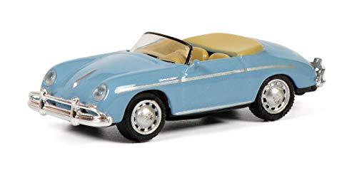 Schuco 452649800 Porsche 356 A Speedster, Modellfahrzeug, Maßstab 1:87, blau mit beigem Interieur