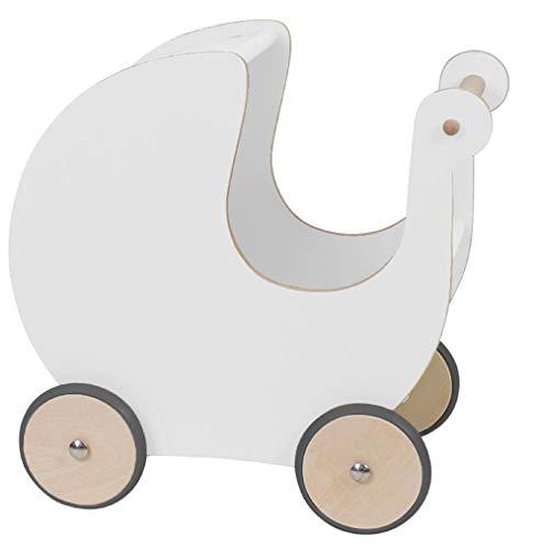 Sebra Puppenwagen aus natürlichem Holz | In Weiß, leise aufgrund gummierter Reifen, auch als...