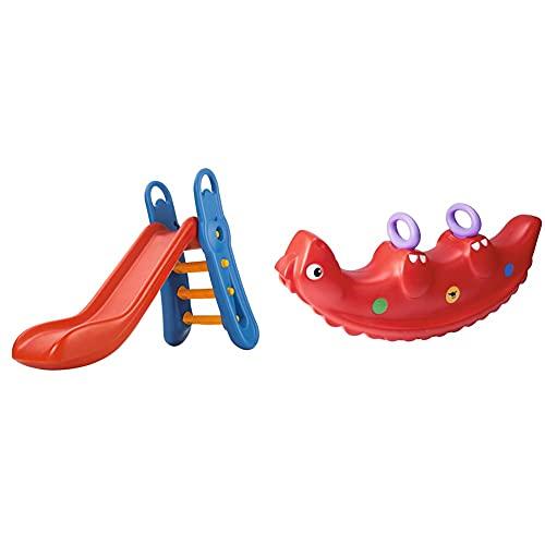 Big - Fun-Slide - 152cm Lange Rutschbahn, Nutzung für den Hausgebrauch, rot-Blaue Rutsche & Sammy-Rocker...