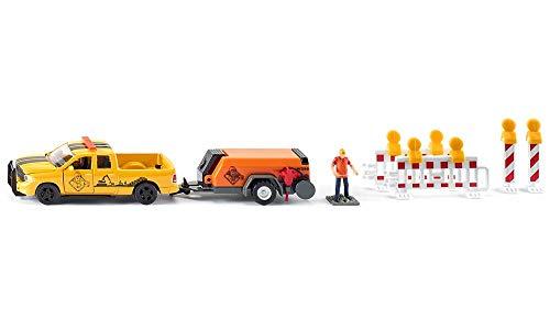 siku 3505, RAM 1500 Pick-up mit Kompressoranhänger, Schranken und Figur, 1:50, Metall/Kunststoff,...