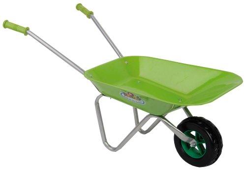 Esschert Design Kinderschubkarre, Gartenkarre für Kinder in grün, ca. 77 cm x 40 cm x 43 cm
