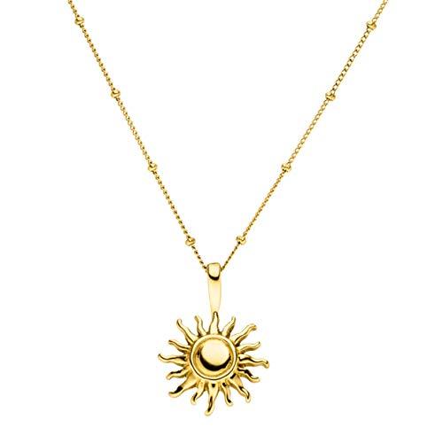 PURELEI® Sun Halskette Damen aus Edelstahl (Gold), mit Sonne Anhänger (50-55 cm Länge, verstellbar)...