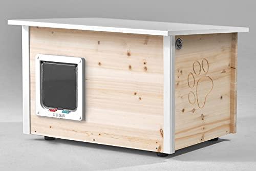 Katzenhaus - Katzenhütte mit Heizung, wärmegedämmt, XL Innenraum 53x37cm