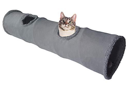 LeerKing Katzentunnel Katzenspielzeug Faltbar Spieltunnel Knisternder Rascheltunnel für alle Katzen und...