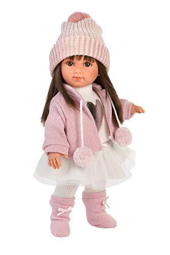 Llorens 53528 Puppe Sara mit brünetten Haaren und braunen Augen, Fashion Doll mit weichem Körper, inkl....