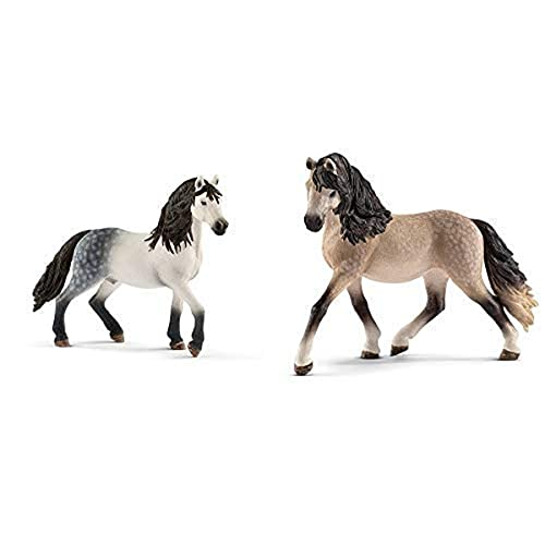 Schleich 13821 - Andalusier Hengst & 13793 - Spielzeugfigur - Andalusier Stute