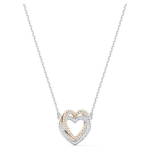 Swarovski Infinity Double Heart Halskette, Damenhalskette im Metallmix mit Herzanhänger in Funkelndem...