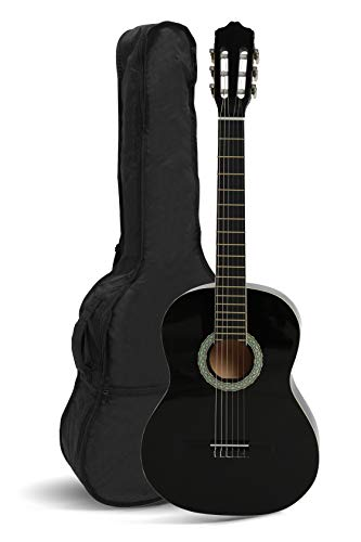NAVARREZ Konzertgitarre 3/4 schwarz mit cremefarbigen Randeinlagen und leicht gepolsterter Tasche mit...