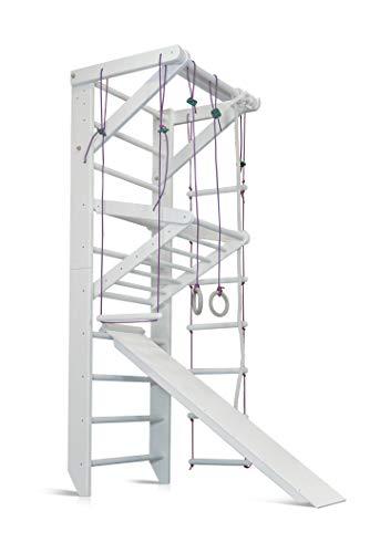 KIND Turnwand Gym Klettergerüst Sport-3-240-Weiß Holz Sportgerät Kletterwand Sprossenwand mit Stange...