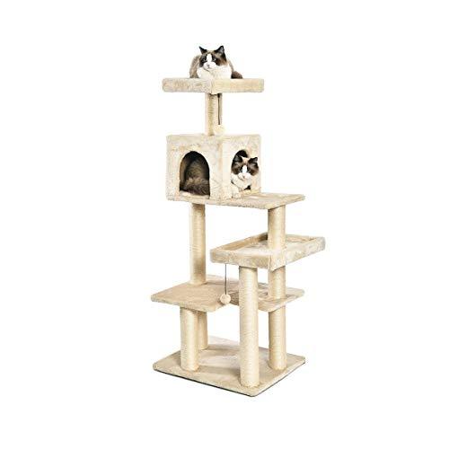 Amazon Basics – Extra großer Katzen-Kratzbaum mit Haus, 61 x 142 x 48 cm, beige