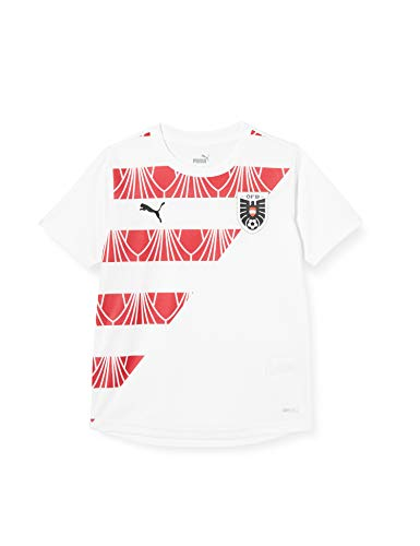 PUMA Jungen ÖFB Stadium Jersey Jr T-Shirt, White-Chili Pepper, 128
