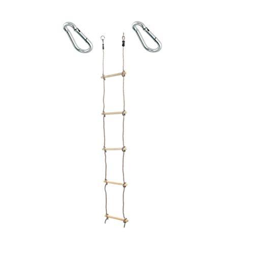 1 Stück h2i Kinder Strickleiter Kletterleiter 180 cm 5 Sprossen mit Karabiner zum Einhängen