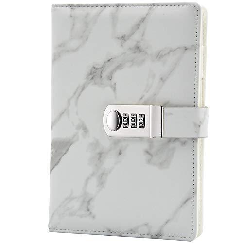 Lirener A5 Creative PU Leder Password Notebook(Marmor design), Draht Bindung Geheimnis ausgekleidet...