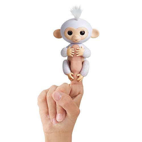 Fingerlings Glitzer Äffchen weiß Sugar 3763 interaktives Spielzeug, reagiert auf Geräusche, Bewegungen...