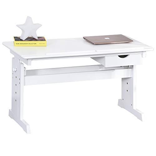 HOMCOM Studiertisch Schreibtisch Computer Stand Laptoptisch Höhenverstellbar 5-Stufig mit Schublade MDF...