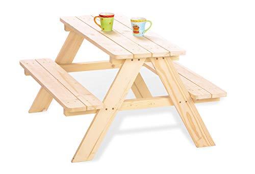 Pinolino Kindersitzgarnitur Nicki für 4, aus massivem Holz, 2 Bänke mit 1 Tisch, empfohlen für Kinder...