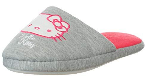Damen Hausschuh Pantoffel Pantolette Hello Kitty Design Grau/Rot Universalgröße 39 bis 42