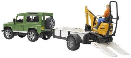 Bruder 02593 - Land Rover Defender Station Wagon mit Einachsanhänger, JCB Mikrobagger 8010 CTS und...