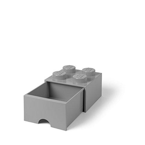 LEGO 4005 Brick 4 Knöpfe, 1 Schublade, stapelbar Aufbewahrungsbox, 4,7 l, grau, Plastik, Legion/M. Stone...