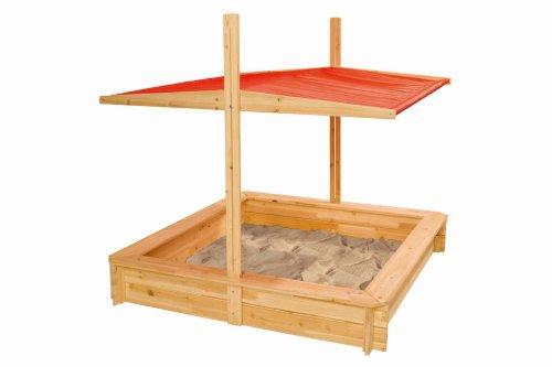 Eichhorn 100004521 Sandkasten mit Abdeckung, Holz Natur