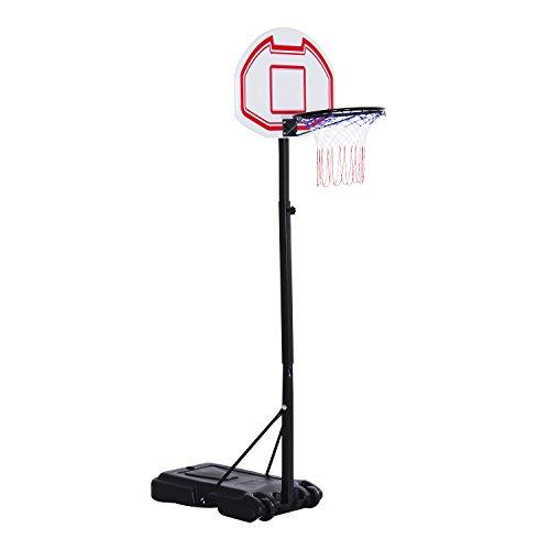 HOMCOM Kinder Basketballständer Basketballkorb mit Rollen Standfuß mit Wasser befüllbar Zielbretthöhe...