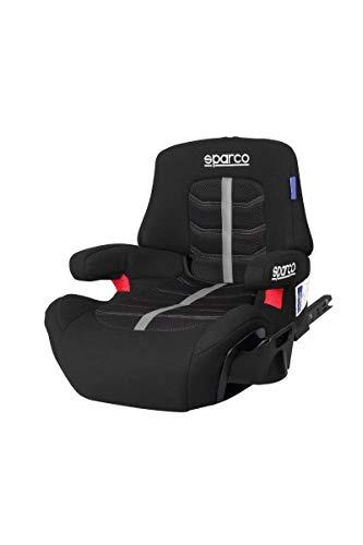 Sparco SK900IGR Sitzerhöhung, niedrig, ISOFIX, mit Rückenlehne, Gruppe 3, 22/36 kg, Schwarz