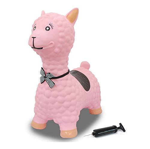 JAMARA 460543 - Hüpftier Lama mit Pumpe - BPA-Frei, bis 50 kg, fördert den Gleichgewichtssinn und die...