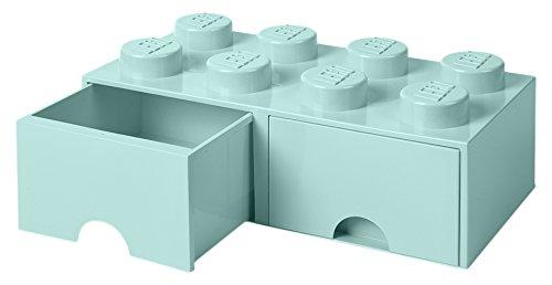 LEGO 4006 Brick 8 Knöpfe, 2 Schubladen, stapelbar Aufbewahrungsbox, 9,4 l, (Mint grün), Plastik,...