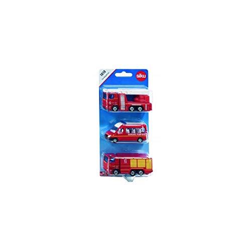 siku 1818001, Feuerwehr-Set Frankreich, Metall/Kunststoff, Rot, Spielkombination, Bewegliche Teile