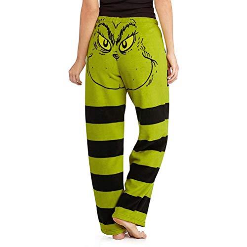 Stecto Grinch Baumwolle Übergröße Hosen für Frauen, grünes Weihnachtsmann-Kostüm, Damen Grinch...