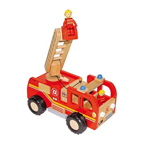 small foot 8509 Feuerwehrauto aus Holz, mit Drehleiter und Förderkorb, inkl. 2 Feuerwehrmann-Figuren, ab...