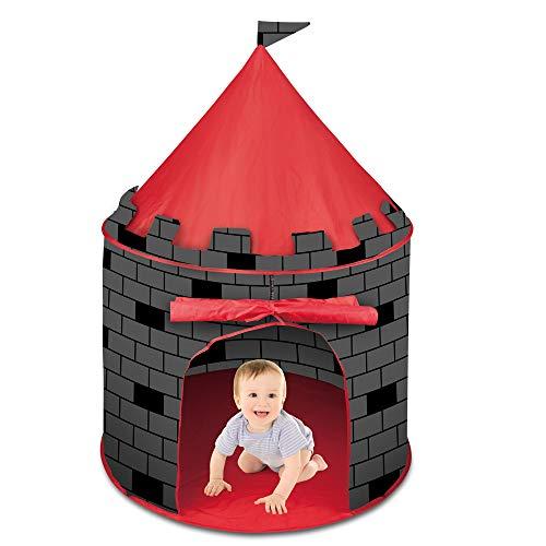 deAO Schnell zu montierendes Kinderzelt im Schlossdesign – Durch das Pop-up Design einfach zu montieren...