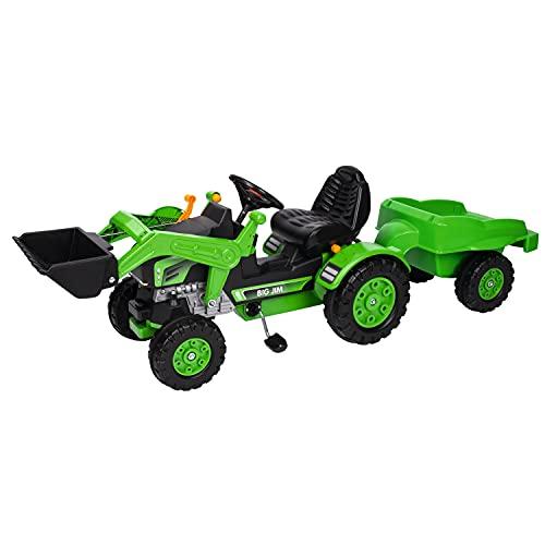 BIG - Jim Loader - Trettraktor mit Anhänger, Trailer verfügt über Tragkraft von bis zu 25 kg, Schaufel...