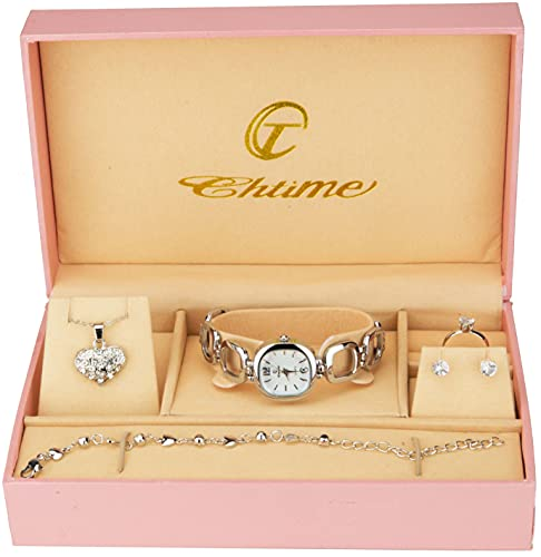 Geschenkset Damen Armbanduhr- - Schmuk Set- Halskette-Ring- Ohrringe - Armband