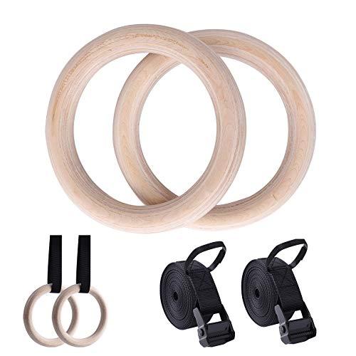 Seutgjie Turnringe Holz 32mm Outdoor Indoor Gymnastikringe Fitness Gym Ringe für Kinder Erwachsene mit...