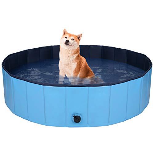 MR.COVER Hundepool, 160/120/ 80 cm für große oder kleine Hunde, Faltbares Planschbecken Hunde, Stabile...