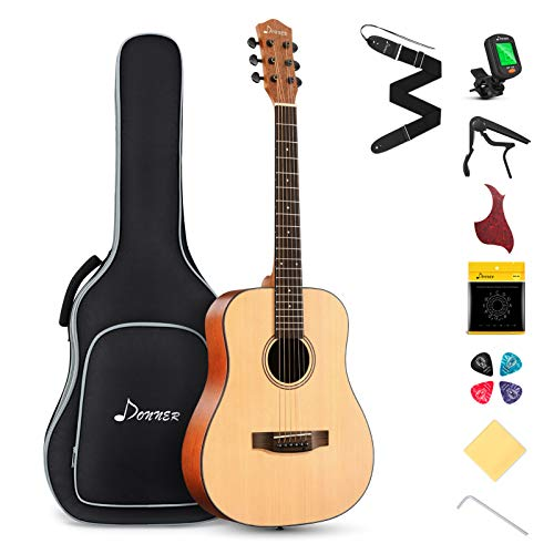 Donner 3/4 Akustik Gitarre für Anfänger Akustikgitarre Set Akustik Gitarren Erwachsene 36 Zoll...