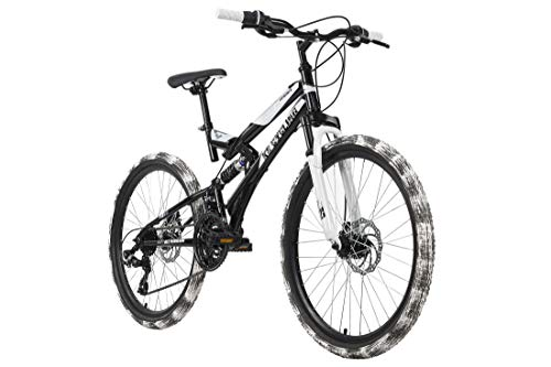 KS Cycling Mountainbike Fully Kinderfahrrad 24'' Crusher schwarz-weiß RH 41 cm