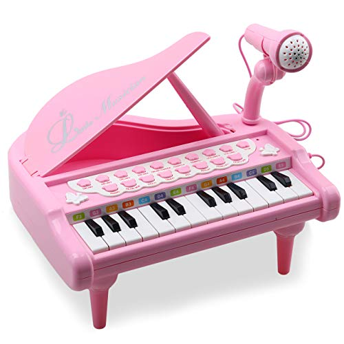 Amy & Benton Klavier Spielzeug Keyboard für Kinder, 24 Tasten Pink, Geburtstags Geschenk für Baby 1 2 3...