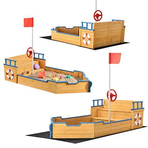 Juskys Sandkasten Käpt'n Pit - Piratenschiff Boot aus Holz – Große Kinder Sandkiste für den Garten...