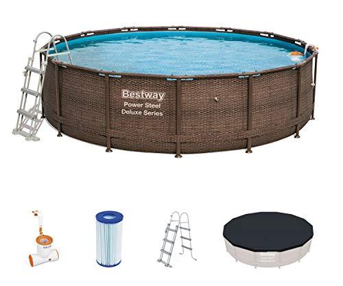 Bestway Power Steel Frame Pool Deluxe Komplettset rund, mit Skimatic Filterpumpe, Leiter, Boden- &...