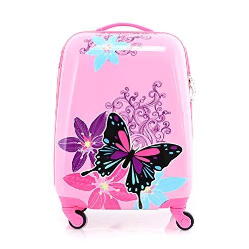 Kinderkoffer mit Cartoonfigur 4 Rollen Trolley Kindergepäck Mädchen Reisekoffer(Schmetterling)